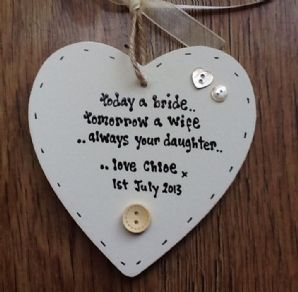 Shabby personalised Gift Chic Heart Plaque Father Of The Bride Wedding Present